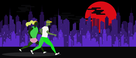 Running Man and Woman. Jogging Couple.,Couple running with night city background vector illustration