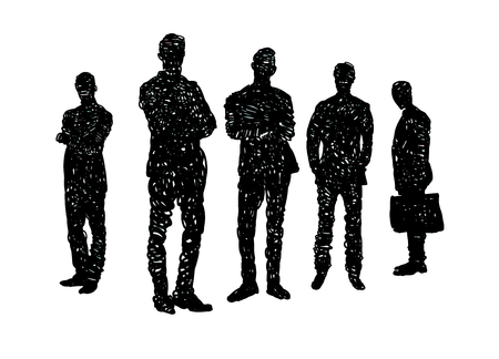 Business People teamwork,line drawing of diverse group of standing people ,Vector illustration cartoon character. Illustration