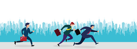 Business People Group Run to success running in the city street .Team Leader Competition Win Concept Flat Vector Illustration