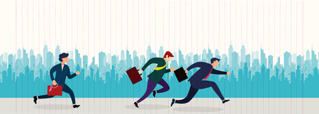 Business People Group Run to success running in the city street .Team Leader Competition Win Concept Flat Vector Illustration Banque d'images - 104302879
