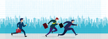 Business People Group Run to success running in the city street .Team Leader Competition Win Concept Flat Vector Illustration Banque d'images - 104302887