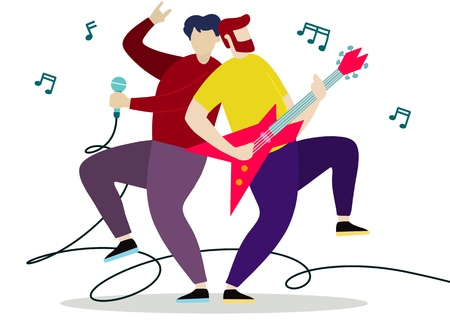 Concert of musical band with guitarist and vocal. Vector illustration Foto de archivo - 115034094