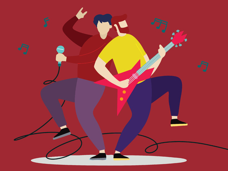 Concert of musical band with guitarist and vocal. Vector illustration Foto de archivo - 115034101