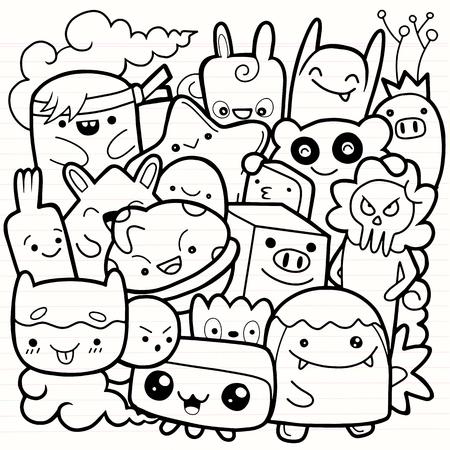 Grappige monsters, schattig monsterpatroon voor kleurboek. Zwart-witte achtergrond. Vector illustratie Vector Illustratie