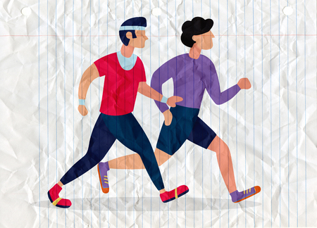 Two Running men. Cartoon jogging buddy. Vector illustration 版權商用圖片 - 115003135