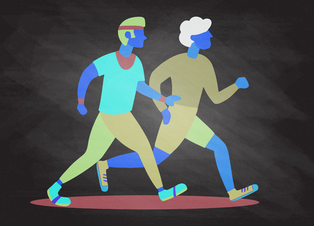 Two Running men. Cartoon jogging buddy. Vector illustration Illustration