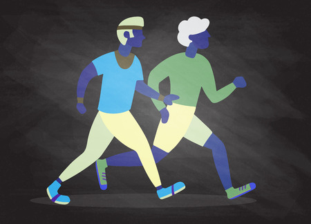 Two Running men. Cartoon jogging buddy. Vector illustration 向量圖像