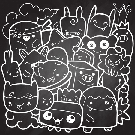 Funny monsters ,Cute Monster pattern for coloring book. Black and white background. Vector illustration