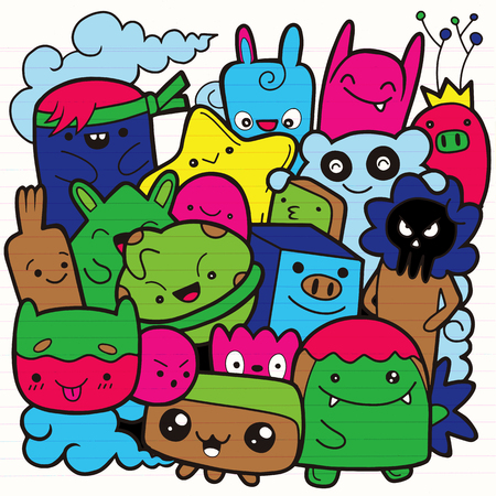 Funny monsters ,Cute Monster pattern for coloring book. Black and white background. Vector illustration 스톡 콘텐츠 - 104480739