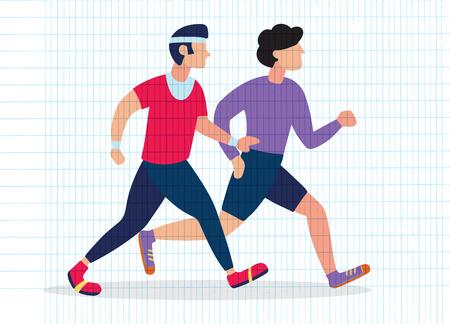 Two Running men. Cartoon jogging buddy. Vector illustration 版權商用圖片 - 115003154