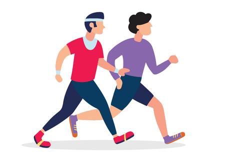 Two Running men. Cartoon jogging buddy. Vector illustration Illustration
