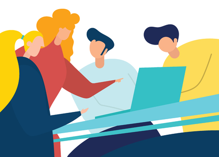 Group of business people.Business people sharing their ideas.Vector illustration