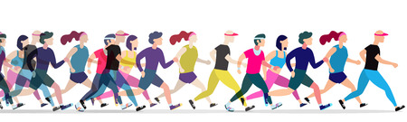 Jogging people. Runners group in motion. Running men and women sports background. People runner race, training to marathon, jogging and running illustration 向量圖像