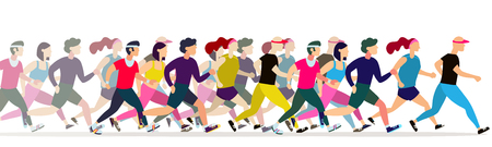 Jogging people. Runners group in motion. Running men and women sports background. People runner race, training to marathon, jogging and running illustration 矢量图像