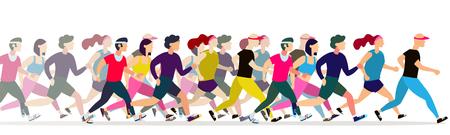 Les gens de jogging. Groupe de coureurs en mouvement. Courir les hommes et les femmes fond de sport. Course de coureurs de personnes, entraînement au marathon, jogging et illustration de course