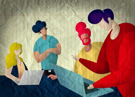 Group of business people.Business people sharing their ideas.Illustration