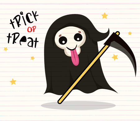 Cute cartoon grim reaper with scythe isolated on white. Cute Halloween skeleton death character icon. Design for print, logo, emblem, sticker or party decoration Çizim