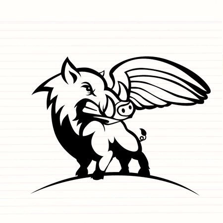 Wild hog or boar with wing logo 스톡 콘텐츠