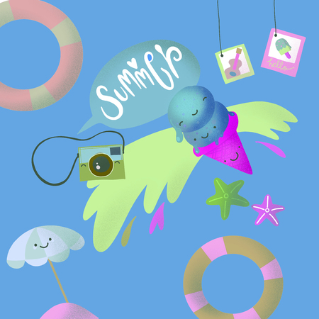 Hand drawn summer greeting card, invitation with icecream. illustration, web banner.