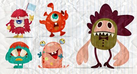 Cartoon Monsters set for Halloween. Vector set of cartoon monsters. Design for print, party decoration, t-shirt, illustration, logo, emblem or sticker Stock Vector - 106046931