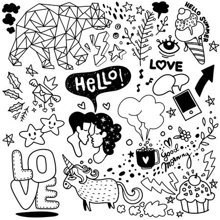 Dessin au trait vectoriel Doodle ensemble d'objets et de symboles