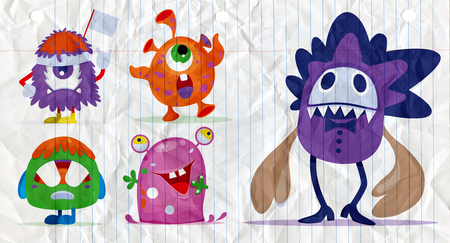 Cartoon Monsters set for Halloween. Vector set of cartoon monsters. Design for print, party decoration, t-shirt, illustration, logo, emblem or sticker