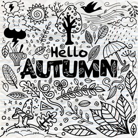 Sketchy vector hand drawn Doodle cartoon set of objects and symbols on the autumn theme Stock Illustratie