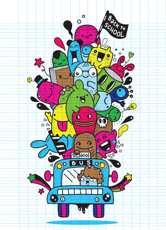 Vector illustration of Back to School ,graphic school bus for back to school poster template ,Monster Doodle for your design Çizim
