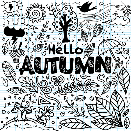 Sketchy vector hand drawn Doodle cartoon set of objects and symbols on the autumn theme Ilustração
