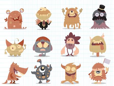Cartoon Monsters collection. Vector set of cartoon monsters . Design for print, party decoration, t-shirt, illustration, logo, emblem or sticker Logo