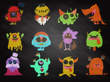 Cartoon Monsters collection. Vector set of cartoon monsters . Design for print, party decoration, t-shirt, illustration, logo, emblem or sticker Foto de archivo - 112201039
