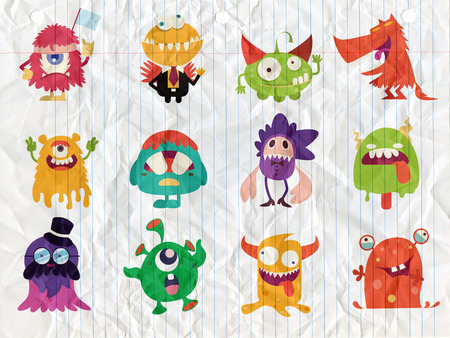 Cartoon Monsters collection. Vector set of cartoon monsters . Design for print, party decoration, t-shirt, illustration, logo, emblem or sticker