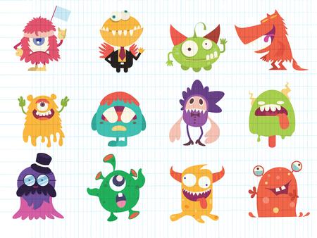 Cartoon Monster Sammlung. Vektorsatz der Karikaturmonster. Design für Druck, Partydekoration, T-Shirt, Illustration, Logo, Emblem oder Aufkleber