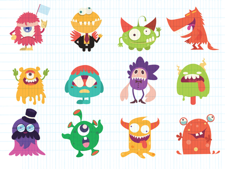 Cartoon Monsters collection. Vector set of cartoon monsters . Design for print, party decoration, t-shirt, illustration, logo, emblem or sticker Фото со стока - 112201046