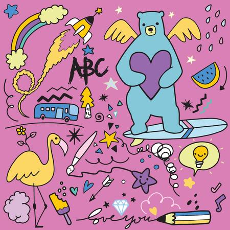 Vector line art Doodle cartoon set of objects and symbols Vol.2