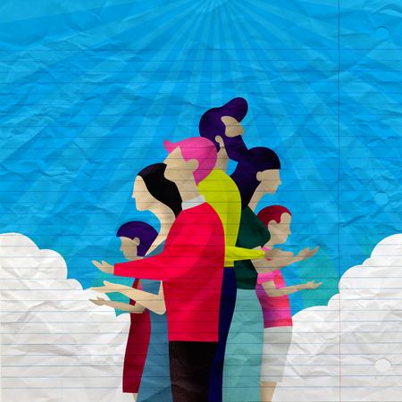 Illustration of family Praying  with light rays shining down Foto de archivo - 105911305