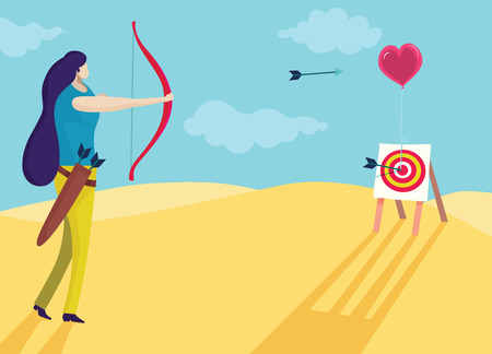 Vector illustration, beautiful woman is shooting a bow into the heart. Love concept Иллюстрация