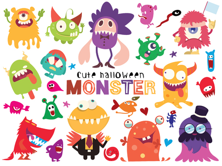 Cute Scary Halloween Monsters and Candy, ilustración vectorial de Doodle cute Monster