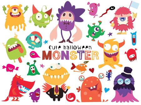 Nette gruselige Halloween-Monster und Süßigkeiten, Vektorillustration des niedlichen Doodle-Monsters
