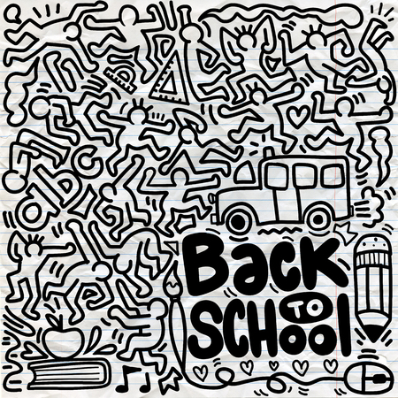 Back to School poster with doodles,Good for textile fabric design, wrapping paper and website wallpapers. Vector illustration. Stock Vector - 112009933