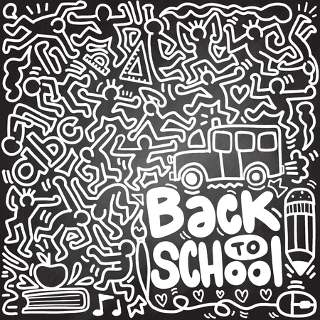 Back to School poster with doodles,Good for textile fabric design, wrapping paper and website wallpapers. Vector illustration. Stock Vector - 112009937