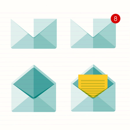 Vector illustration. Flat envelope. Emailing and global communication. Letter. Social network.