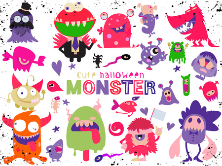 cute scary halloween monsters and candyvector illustration of doodle cute monster stock vector
