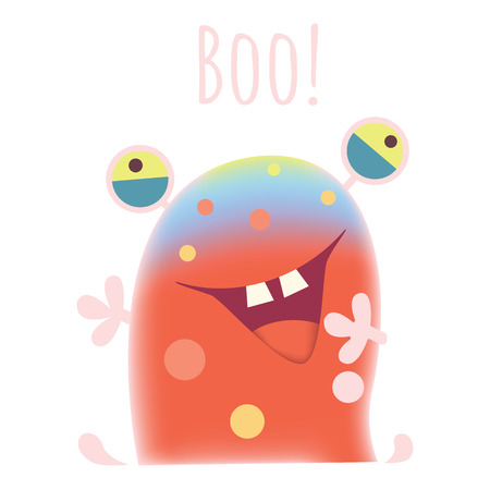 Vector illustration of  Crazy monster emotion. Cute monster illustration.Sketchy cartoon monster scaring and saying boo!