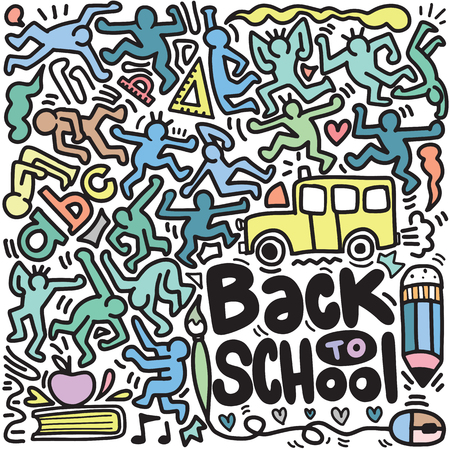 Back to School poster with doodles,Good for textile fabric design, wrapping paper and website wallpapers. Vector illustration. Stock Vector - 112009940