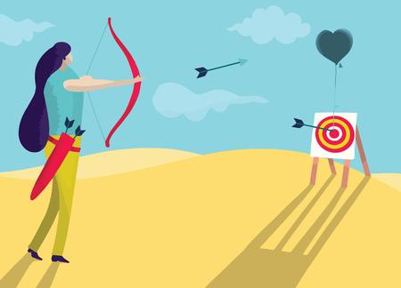 Illustration vectorielle, belle femme tire un arc dans le cœur. concept d'amour Vecteurs
