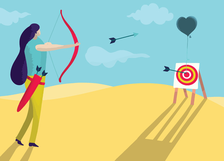 Vector illustration, Beautiful woman is shooting a bow into the heart. love concept