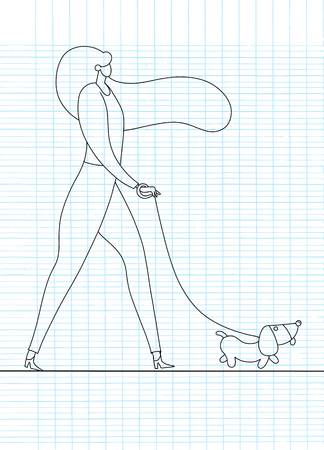Mädchen, das mit Hund geht. Vektorillustration in einem flachen Stil