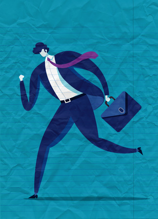A business man runs to success. illustration of a businessman running with briefcase, business, energetic, dynamic concept