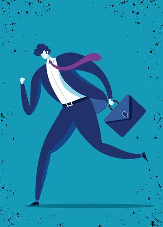 Een zakenman rent naar succes. illustratie van een zakenman met aktetas, zakelijk, energiek, dynamisch concept